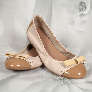 Cole Haan Bow Ballet Flats Ivory Brown Shoes